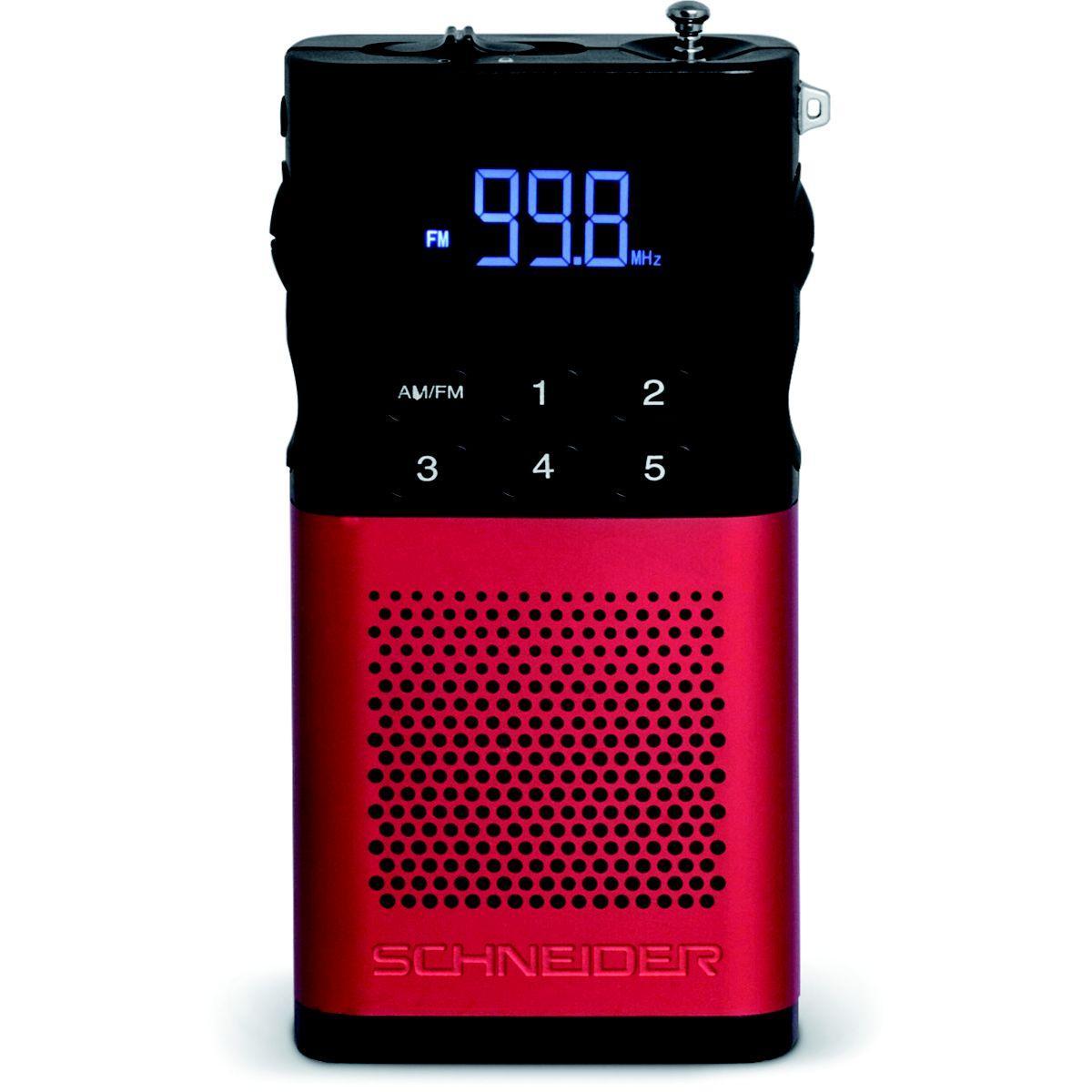 Radio analogique schneider piccolo rouge - 2% de remise imm?di...