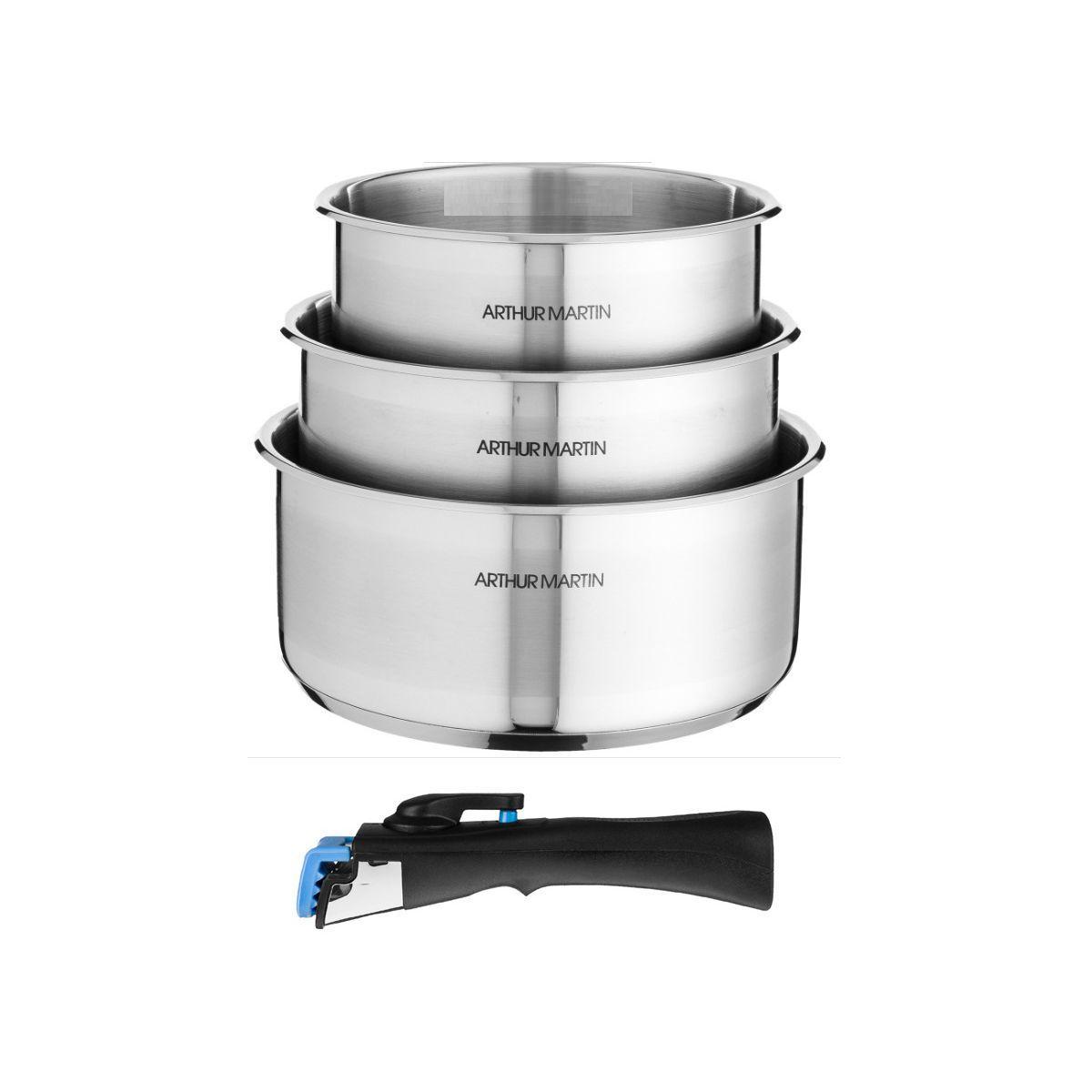 Batterie de cuisine arthur martin 3 casseroles 16/18/20cm + poign�e - 5531 - 2% de remise imm�diate avec le code : fete2 (photo)