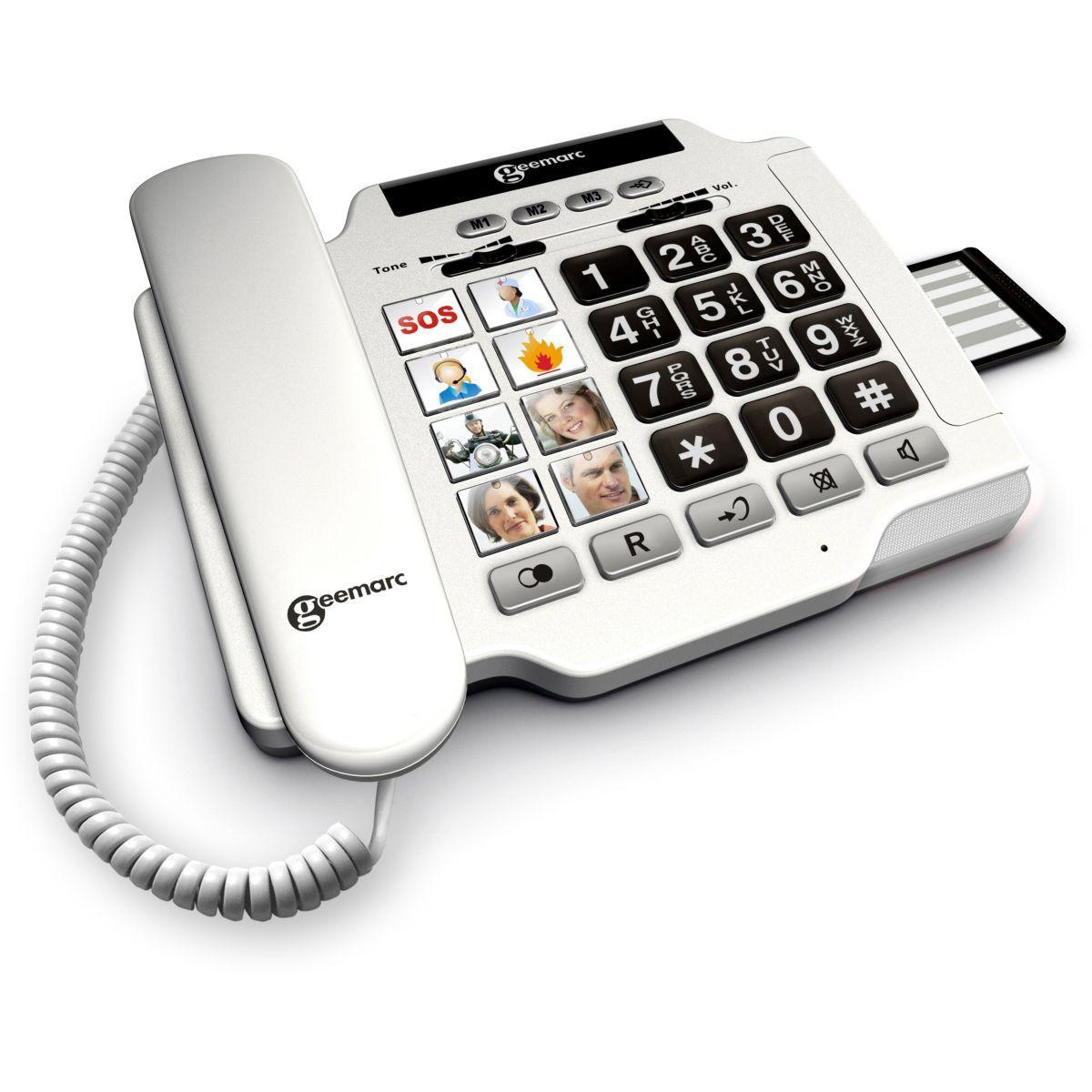 T�l�phone filaire geemarc photophone 100 blanc - 7% de remise imm�diate avec le code : automne7 (photo)
