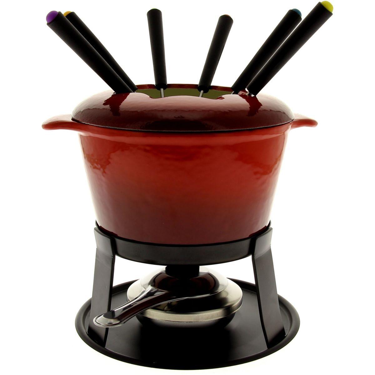 Fondue table & cook bourguignonne fonte rouge 6 personnes - livraison offerte : code liv