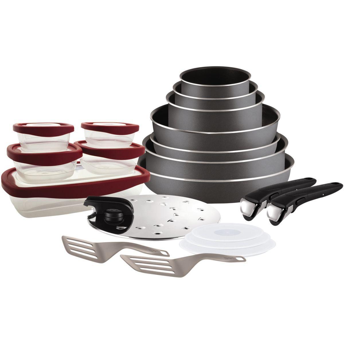 Batterie de cuisine tefal ingenio essential gris 20p l2049102 - livraison offerte : code liv (photo)