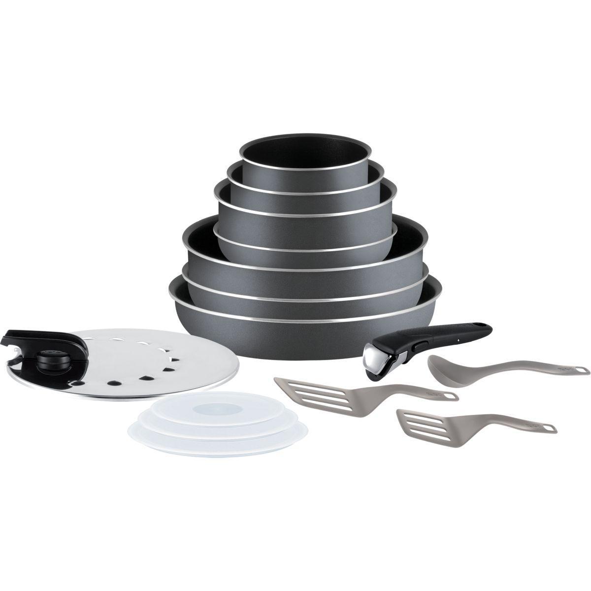 Batterie de cuisine tefal ingenio minute gris 15p l2048802 (photo)