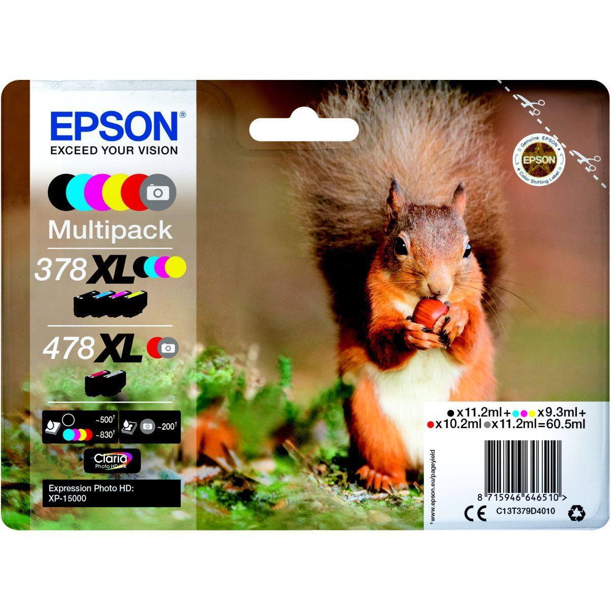 Cartouche d'encre epson 478 (n/c/m/j/r/g) xl s�rie ecureuil - livraison offerte : code livdom