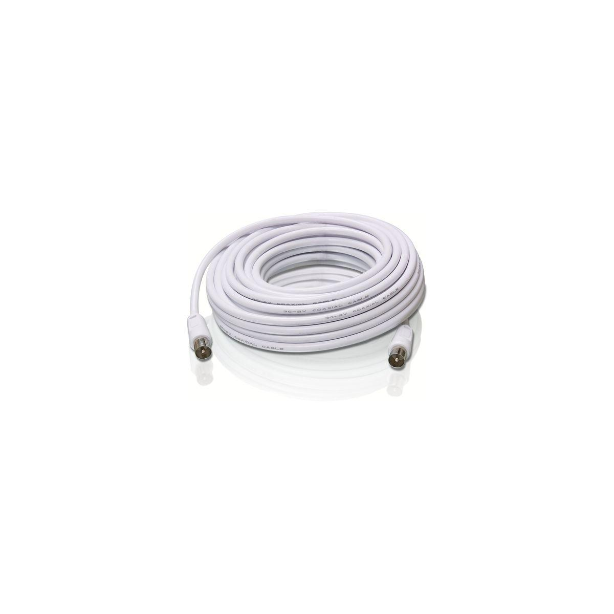 C�ble coaxial philips 10m blanc mm (f-f adaptateur inclus) (photo)