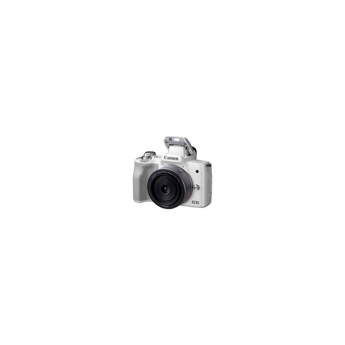 Appareil photo hybride canon eos m50 blanc + 15-45mm - 5% de remise imm�diate avec le code : fete5