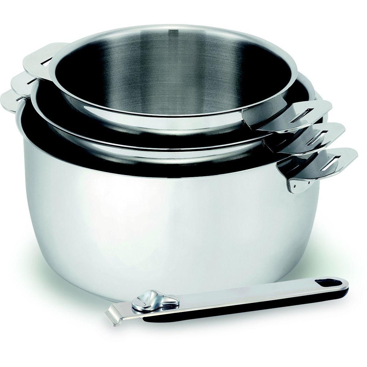 Batterie de cuisine kitchen fun move on 3 casseroles 16-18-20cm + manche - livraison offerte : code liv (photo)