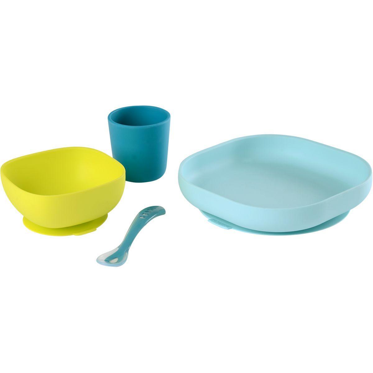 Accessoire pu�riculture beaba 913428 4pi�ces vaisselle silicone bleu - livraison offerte : code livprem (photo)