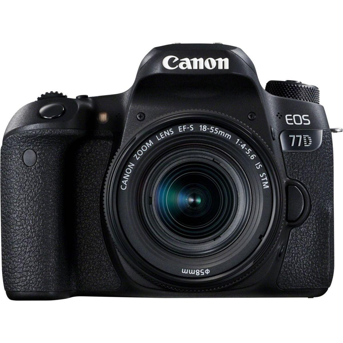 Appareil photo reflex canon eos 77d + 18-55 is stm - livraison offerte : code premium