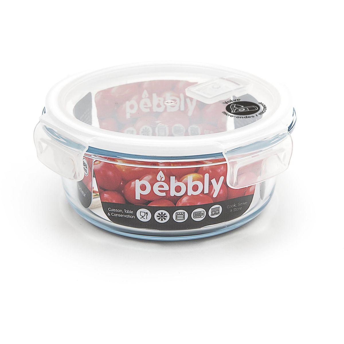 Bo�te de conservation pebbly ronde en verre borosilicate 950ml