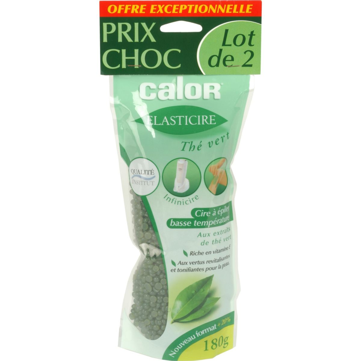 Cire calor lot 2 sachets au th� vert180g (photo)