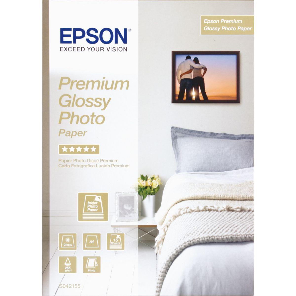 Papier photo epson premium glacé 255 g a4 15 feuilles - produit coup de coeur webdistrib.com ! (photo)