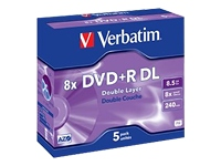 Dvd vierge verbatim dvd+r double 8.5go 5pk double layer 8x - 1...