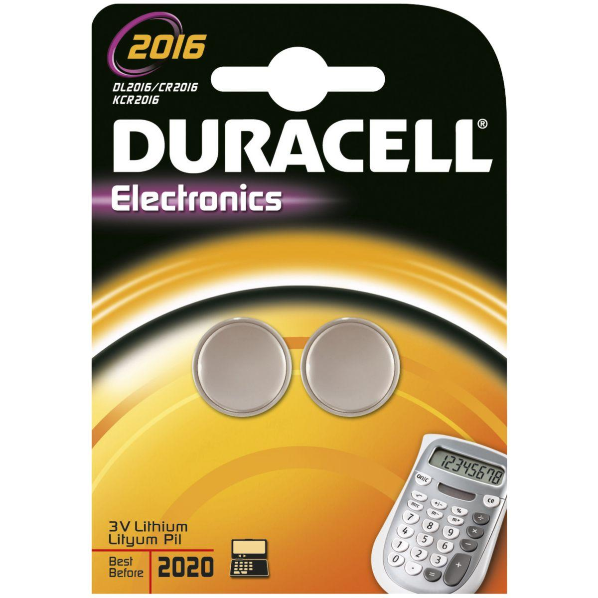 Pile non rechargeable duracell lithium spe 2016 - 2 piles (photo)