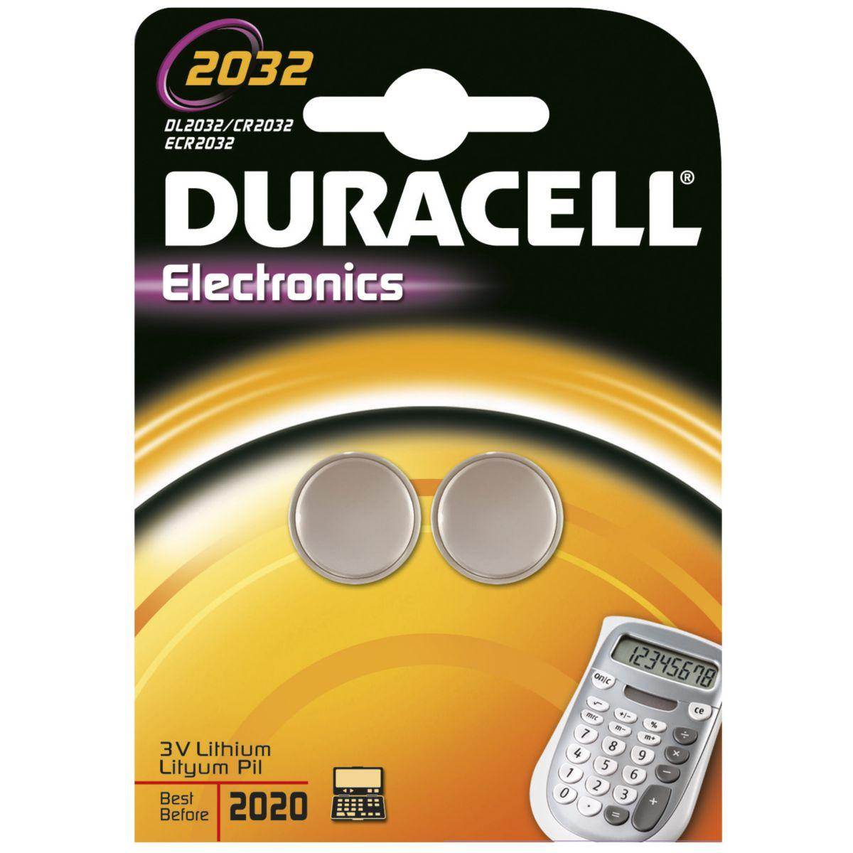 Pile non rechargeable duracell lithium spe 2032 - 2 piles (photo)