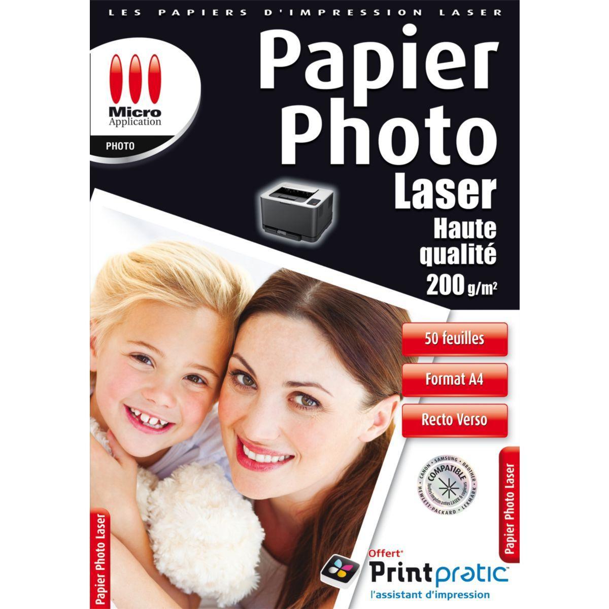Papier photo micro application photo laser 200g/m2 - 50 feuilles - 3% de remise immédiate avec le code : multi3 (photo)
