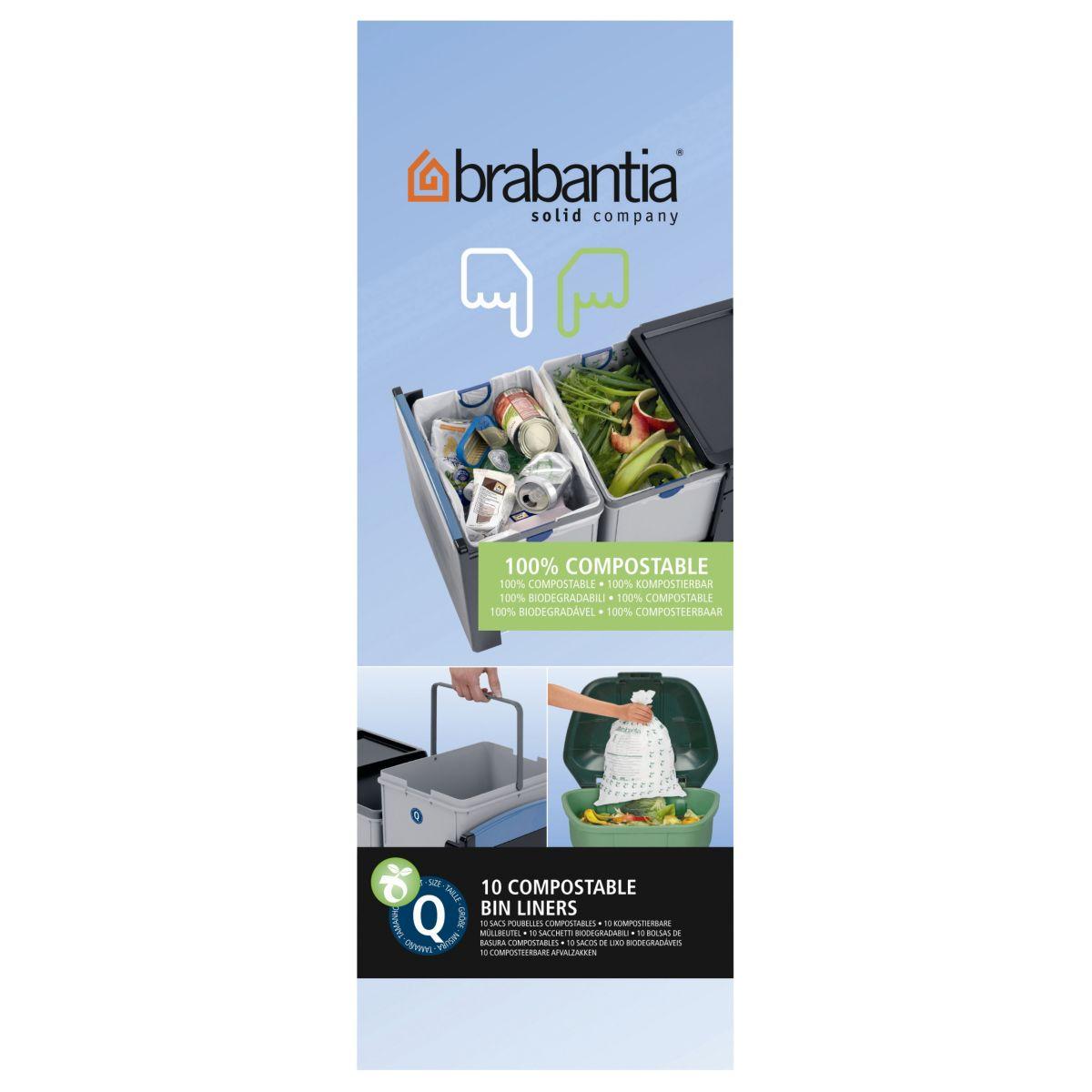 Sac poubelle brabantia 18l biod�gradable - rouleau de 10 sacs - 7% de remise imm�diate avec le code : deal7 (photo)