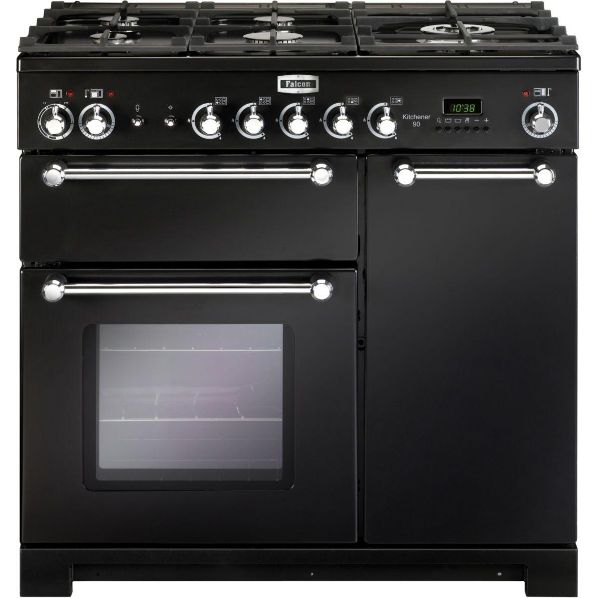 Piano de cuisson gaz falcon kitchener 90 mixte noir chrome - livraison offerte : code livp (photo)