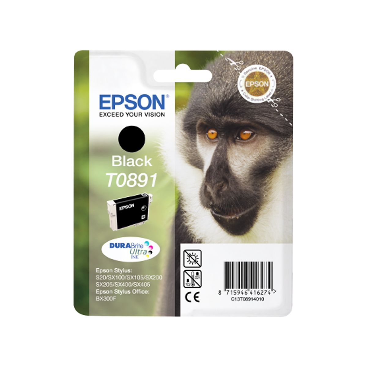 Cartouche d'encre epson t0891 noire s�rie singe