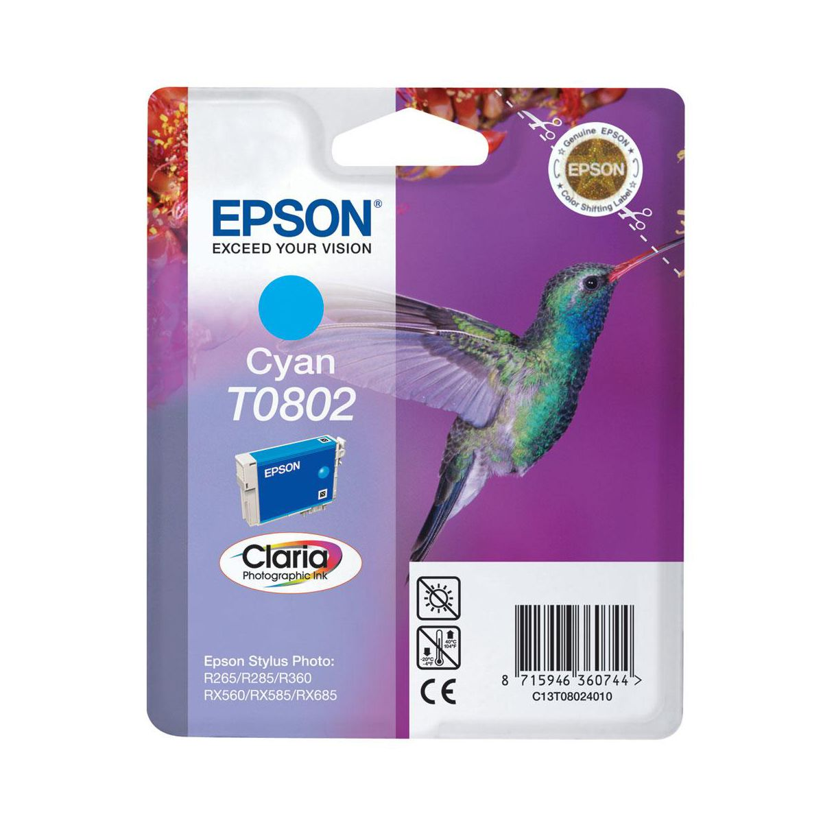 Cartouche d'encre epson t0802 cyan s?rie colibri