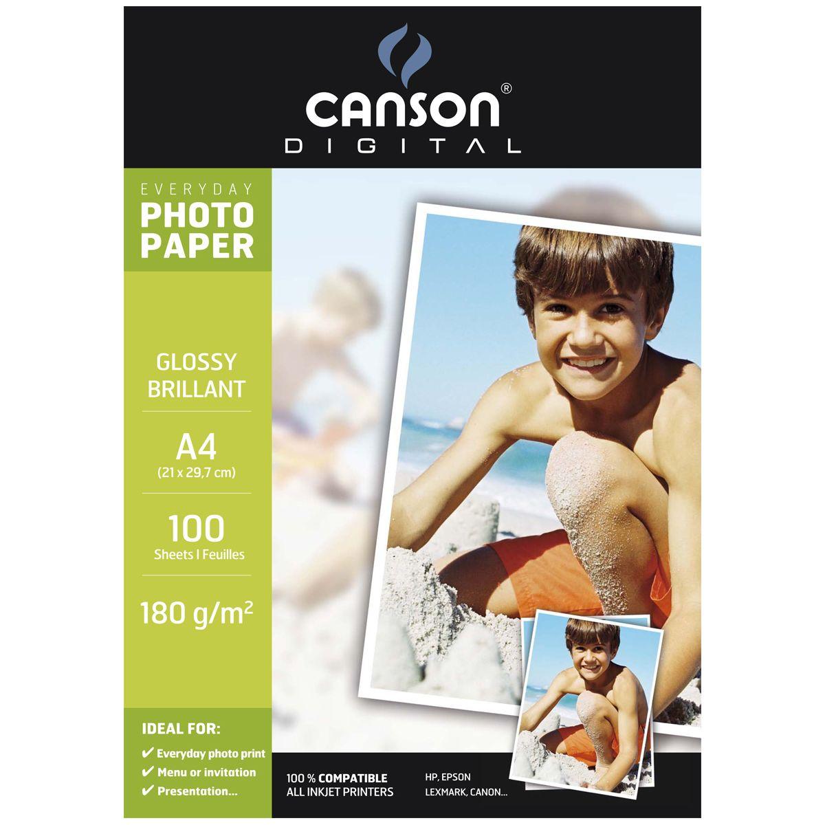 Papier photo canson 100 feuilles everyday a4 180g brillant (photo)