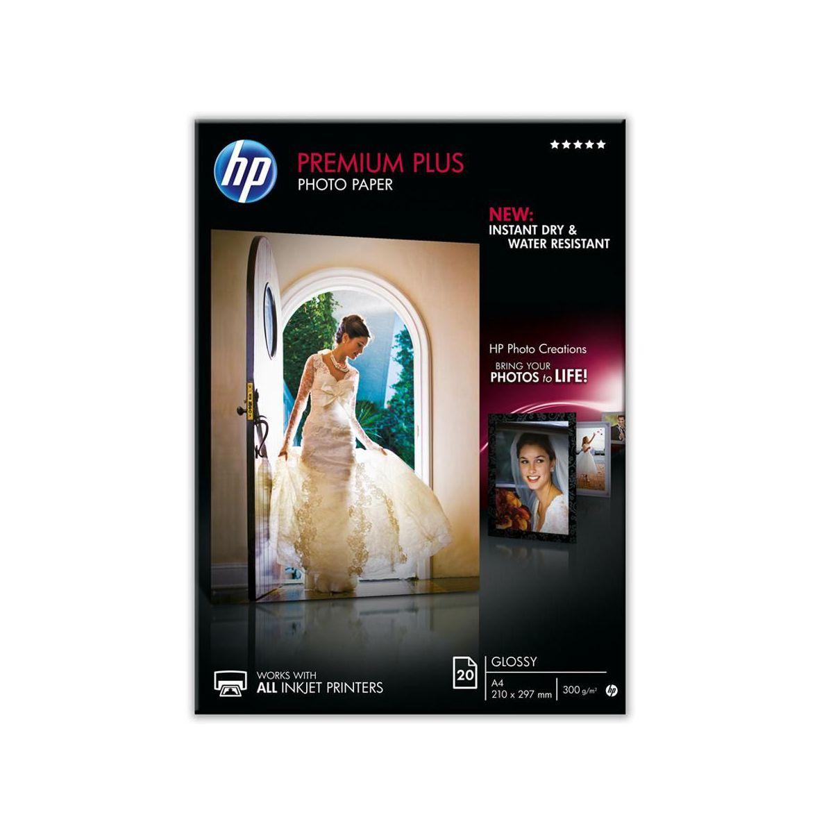 Papier photo hp cr672a premium a4 brillant 300g 20 feuilles - 5% de remise : code multi5 (photo)
