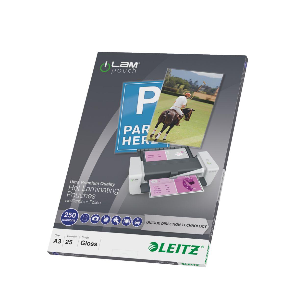 Consommable de bureau pour plastifieuse leitz pochettes 250 udt a3 boite de 25 (photo)