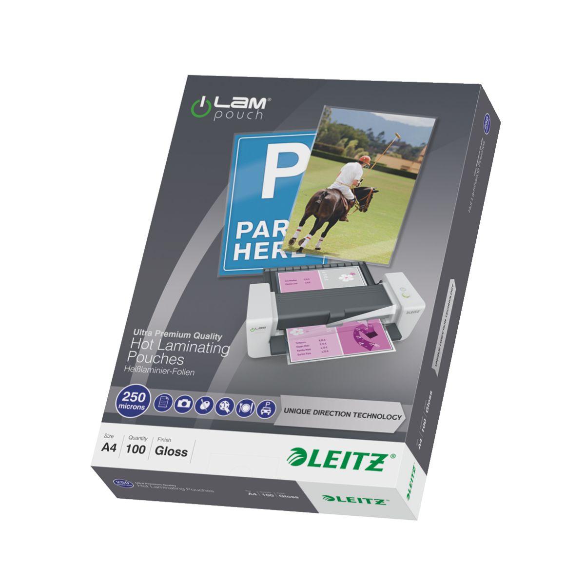 Consommable de bureau pour plastifieuse leitz pochettes 250 udt a4 boite de 100 - livraison offerte : code liv (photo)