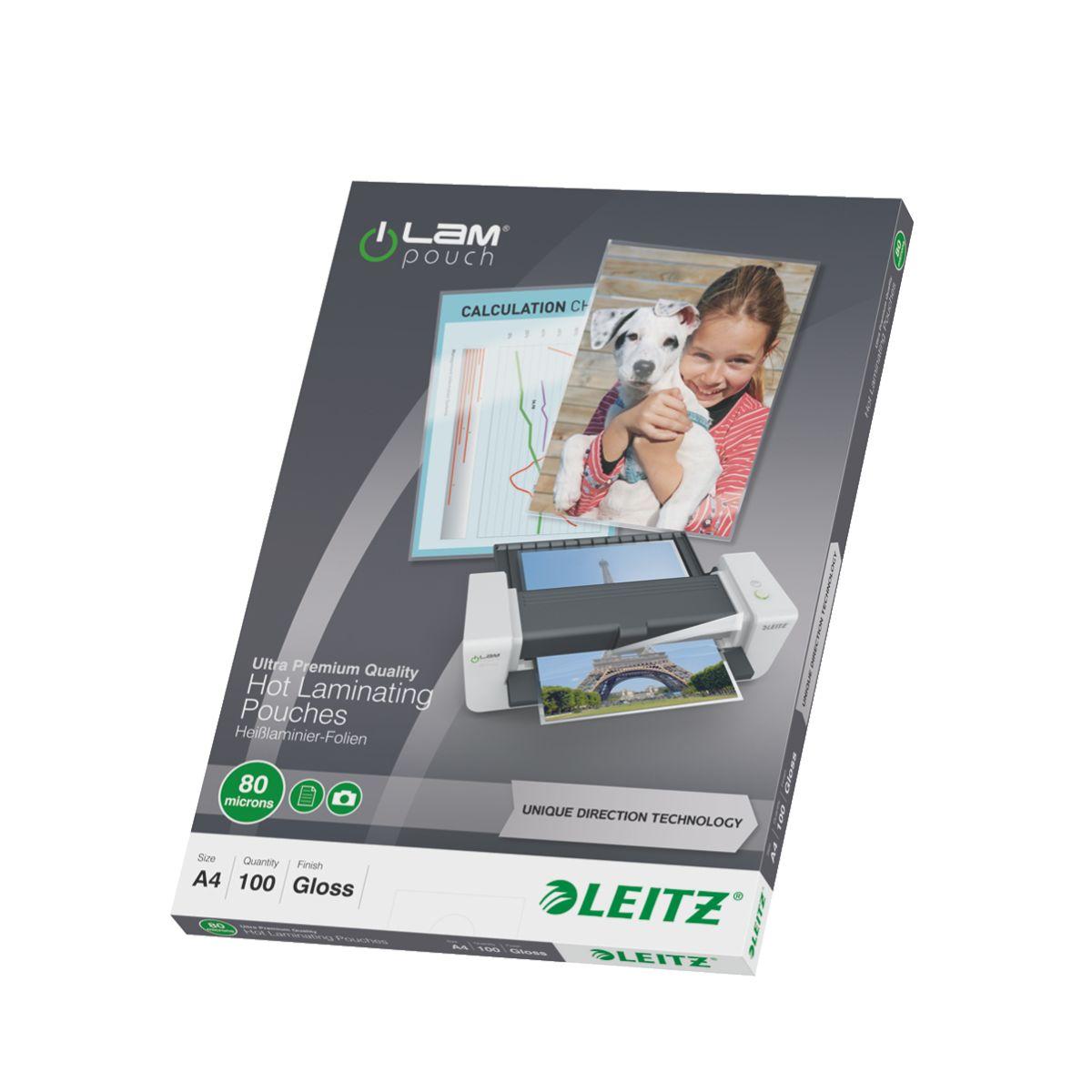 Consommable de bureau pour plastifieuse leitz pochettes 80 udt a4 boite de 100 (photo)
