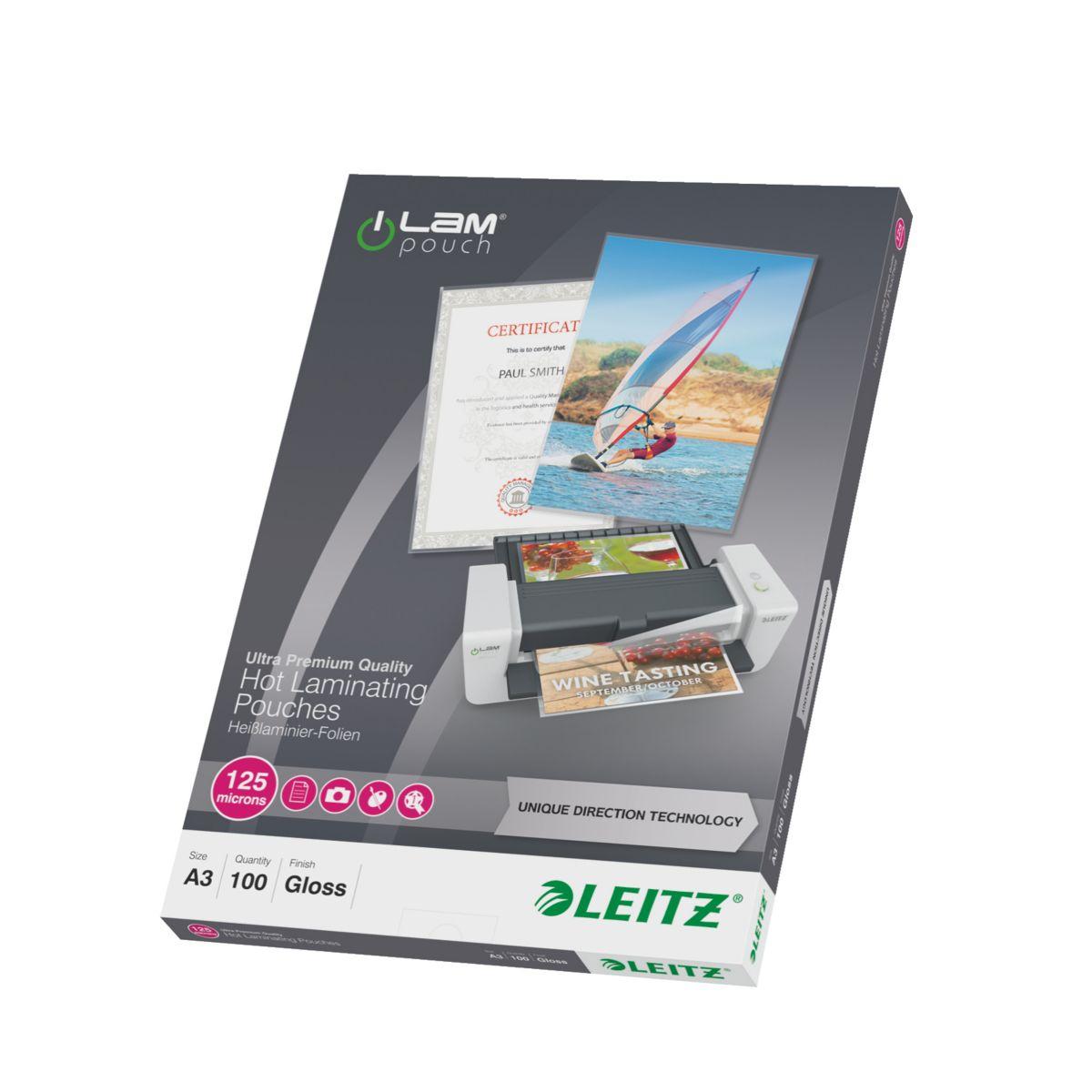 Consommable de bureau pour plastifieuse leitz pochettes 125 udt a3 boite de 100 (photo)