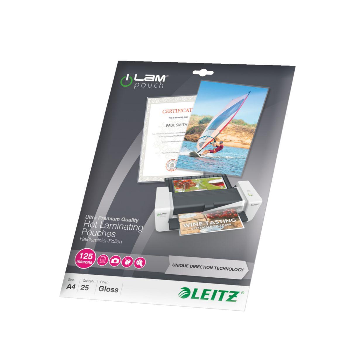 Consommable de bureau pour plastifieuse leitz pochettes 125 udt a4 boite de 25 (photo)