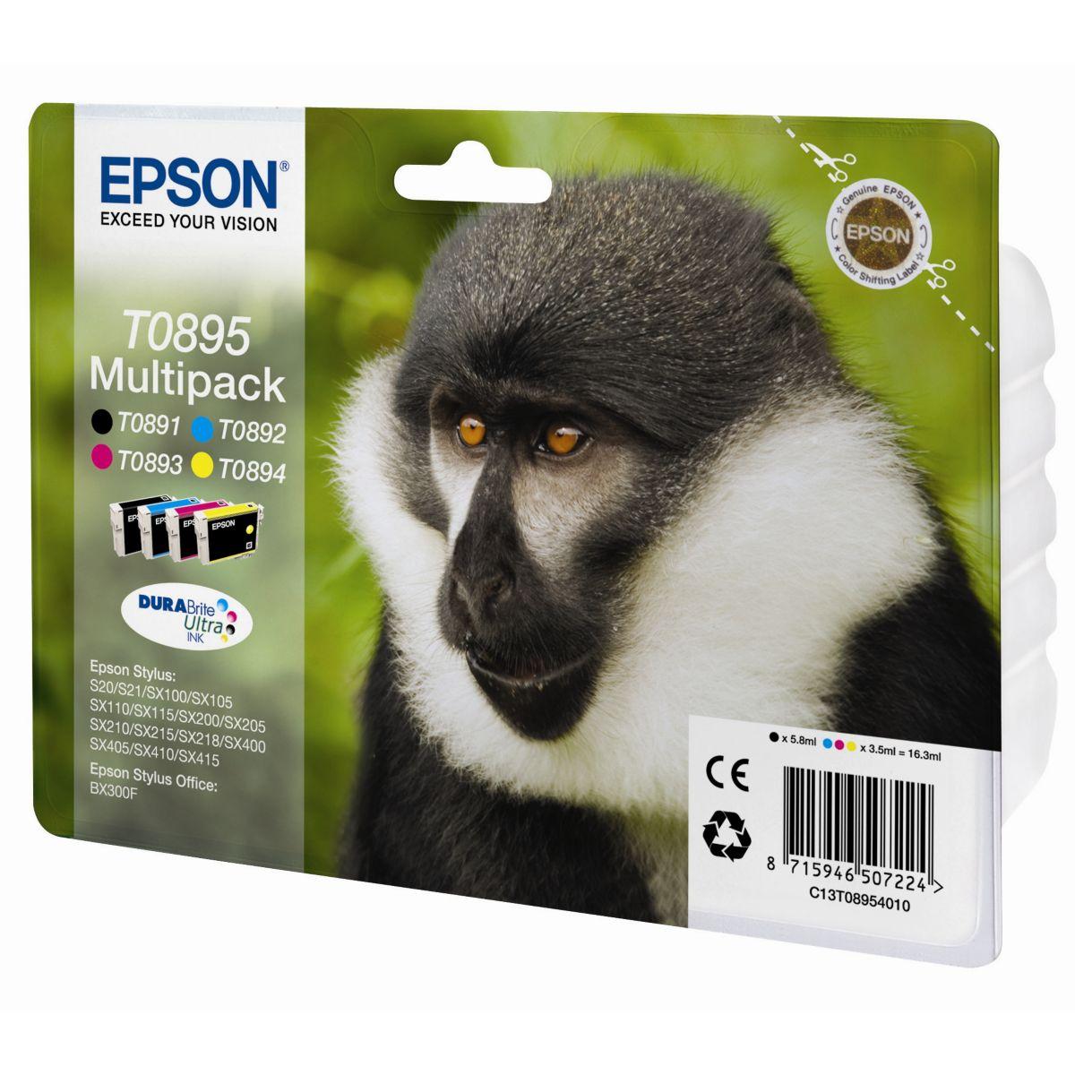 Multipack cartouches d'encre epson t0895 (n c m j) série singe - produit coup de coeur webdistrib.com !