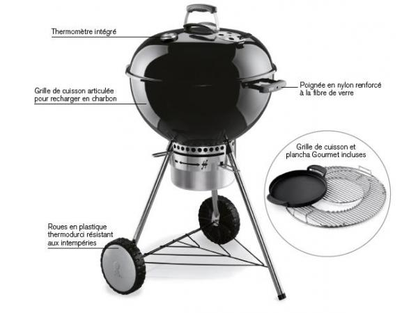 Barbecue charbon one touch premium gourmet weber for Plancha cuisine integree
