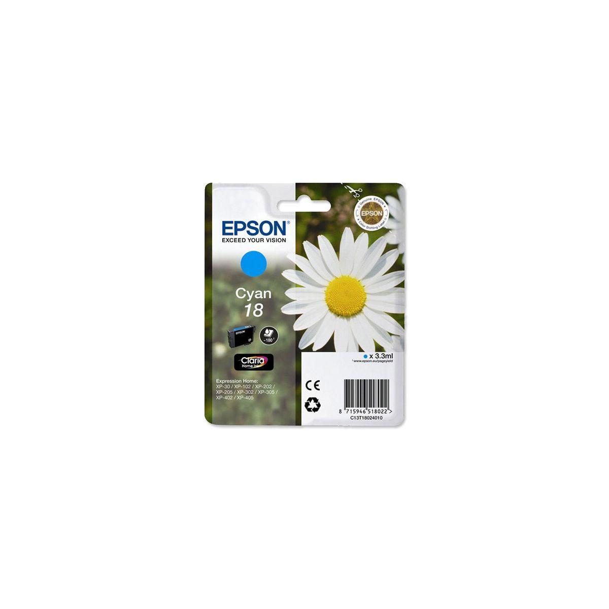 Cartouche d'encre epson t1802 cyan série paquerette - produit coup de coeur webdistrib.com !