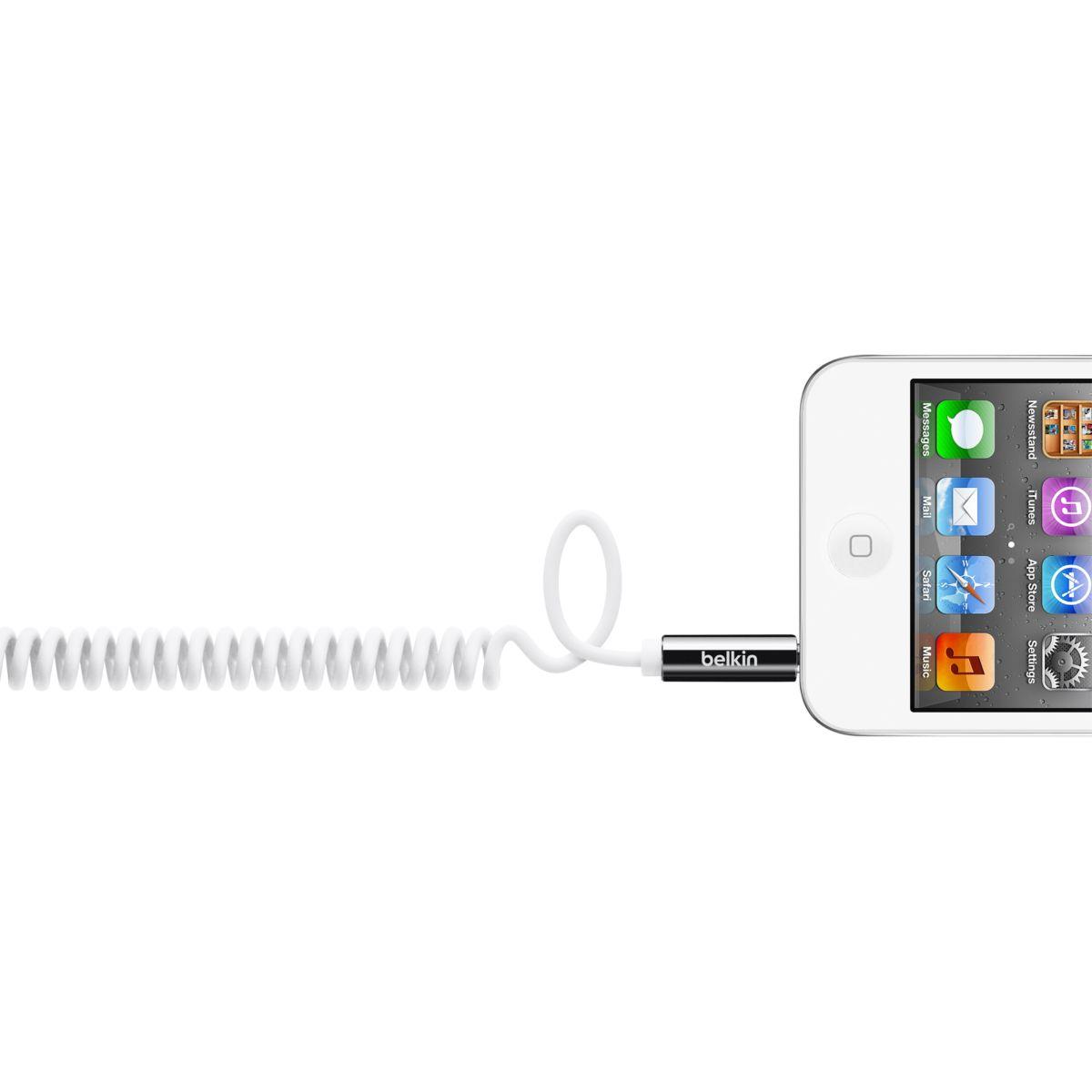 Connectique belkin câble spirale blanc - longueur : 1.8m - 20% de remise immédiate avec le code : cool20 (photo)