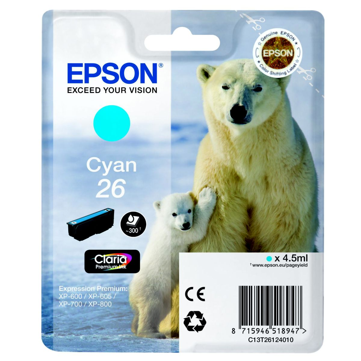Cartouche d'encre epson t2612 cyan s�rie ours polaire