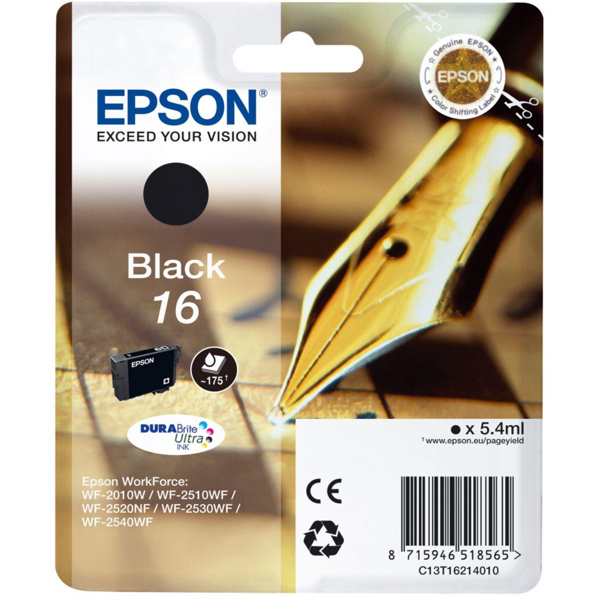 Cartouche d'encre epson t1621 noire s�rie stylo plume