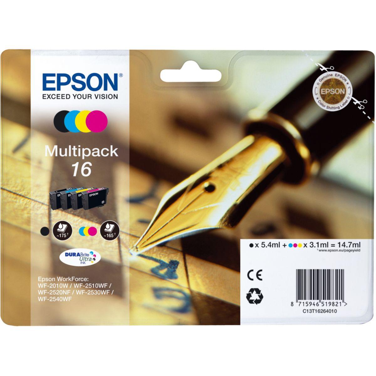 Multipack cartouches d'encre epson (noir/cyan/magenta/jaune) t1626 s?rie stylo plume