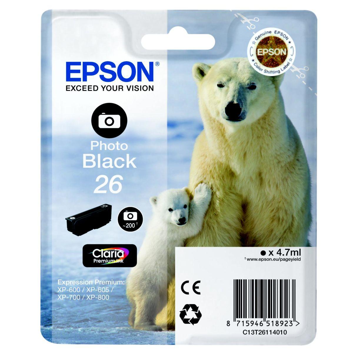 Cartouche d'encre epson t2611 noire photo s�rie ours polaire