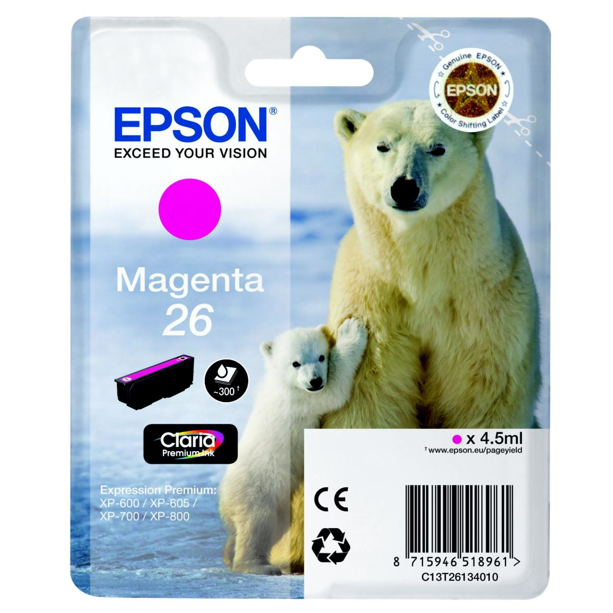 Cartouche d'encre epson t2613 magenta s�rie ours polaire