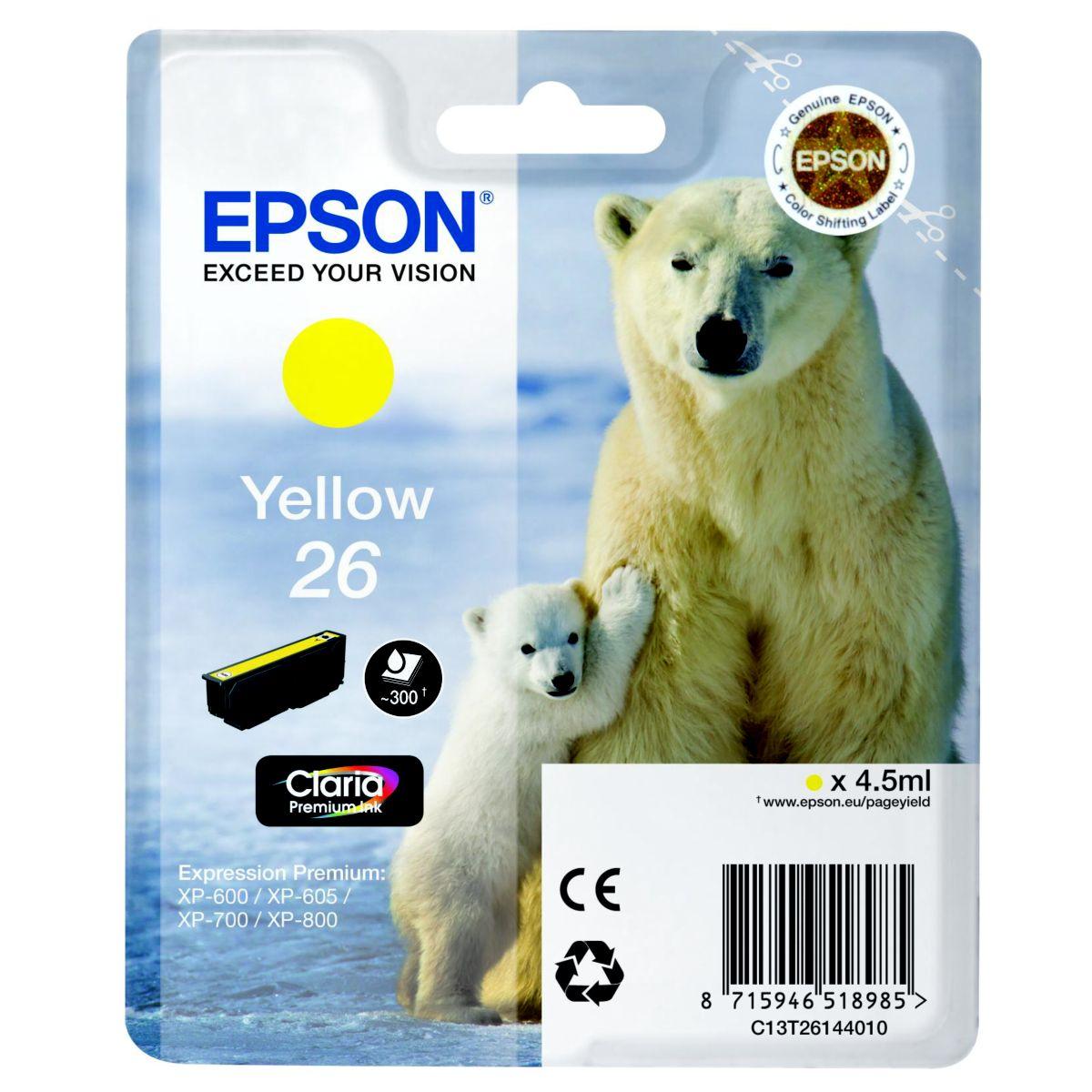 Cartouche d'encre epson t2614 jaune s�rie ours polaire