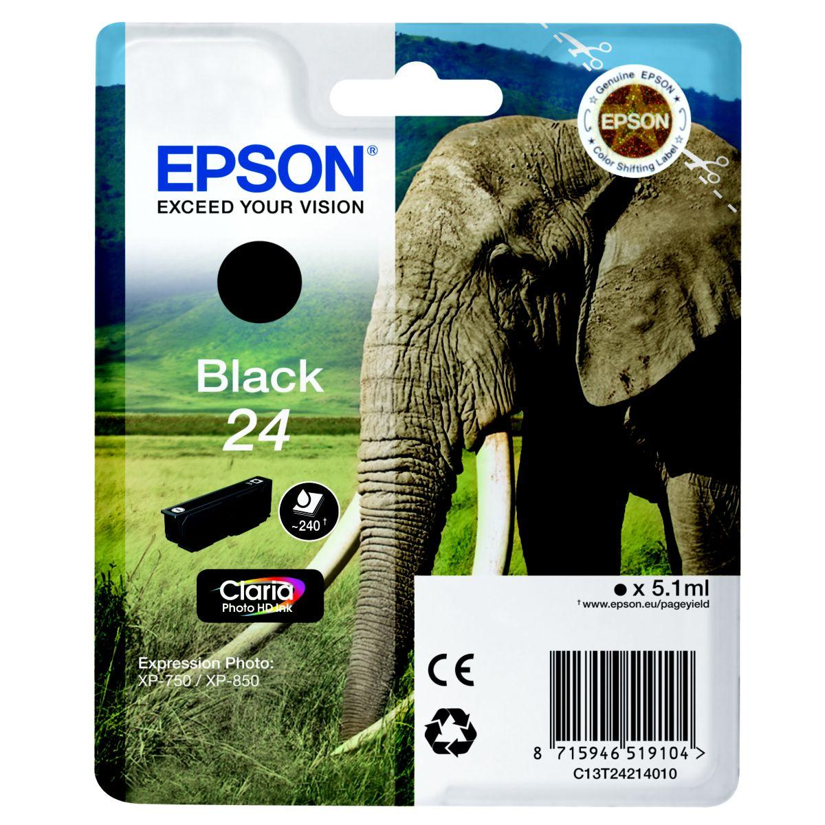 Cartouche d'encre epson t2421 noire s�rie el�phant
