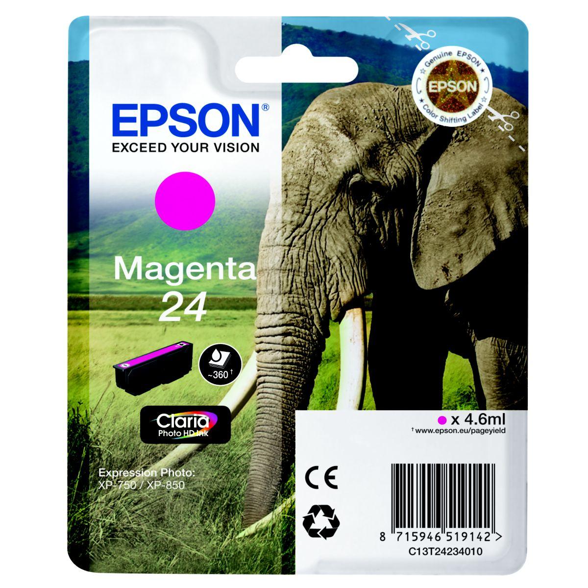Cartouche d'encre epson t2423 magenta s�rie el�phant