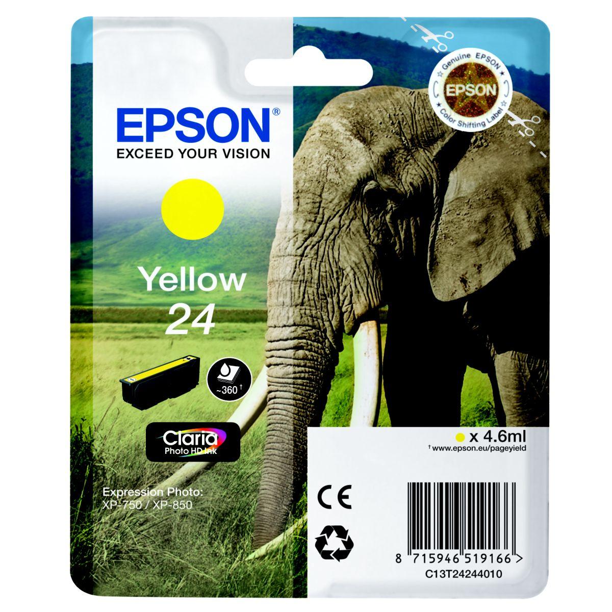 Cartouche d'encre epson t2424 jaune s�rie el�phant