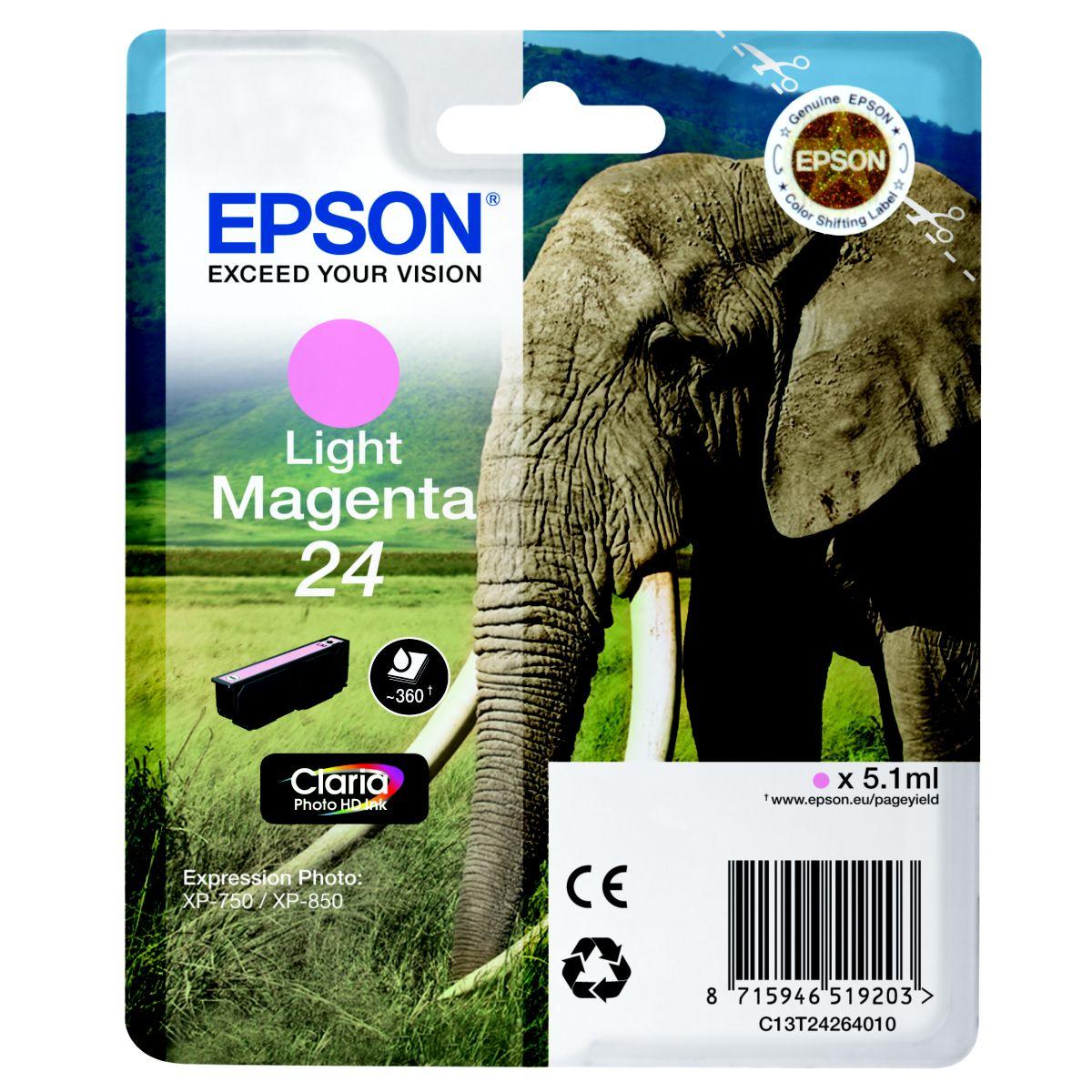 Cartouche d'encre epson t2426 magenta clair s�rie el�phant