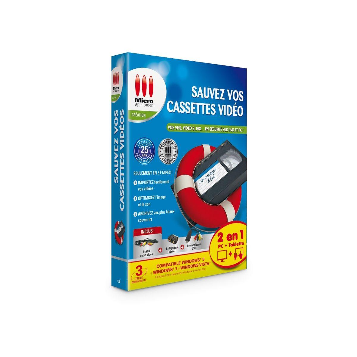 Logiciel pc micro application sauvez vos cassettes vidéo – 5 € de remise : code cash5