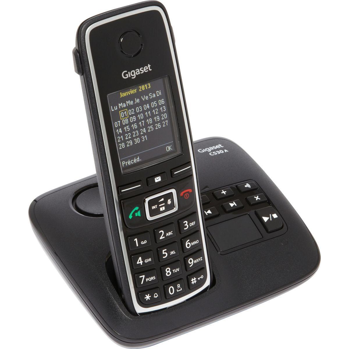 Téléphone répondeur sans fil gigaset c530a noir - livraison offerte avec le code livofferte (photo)