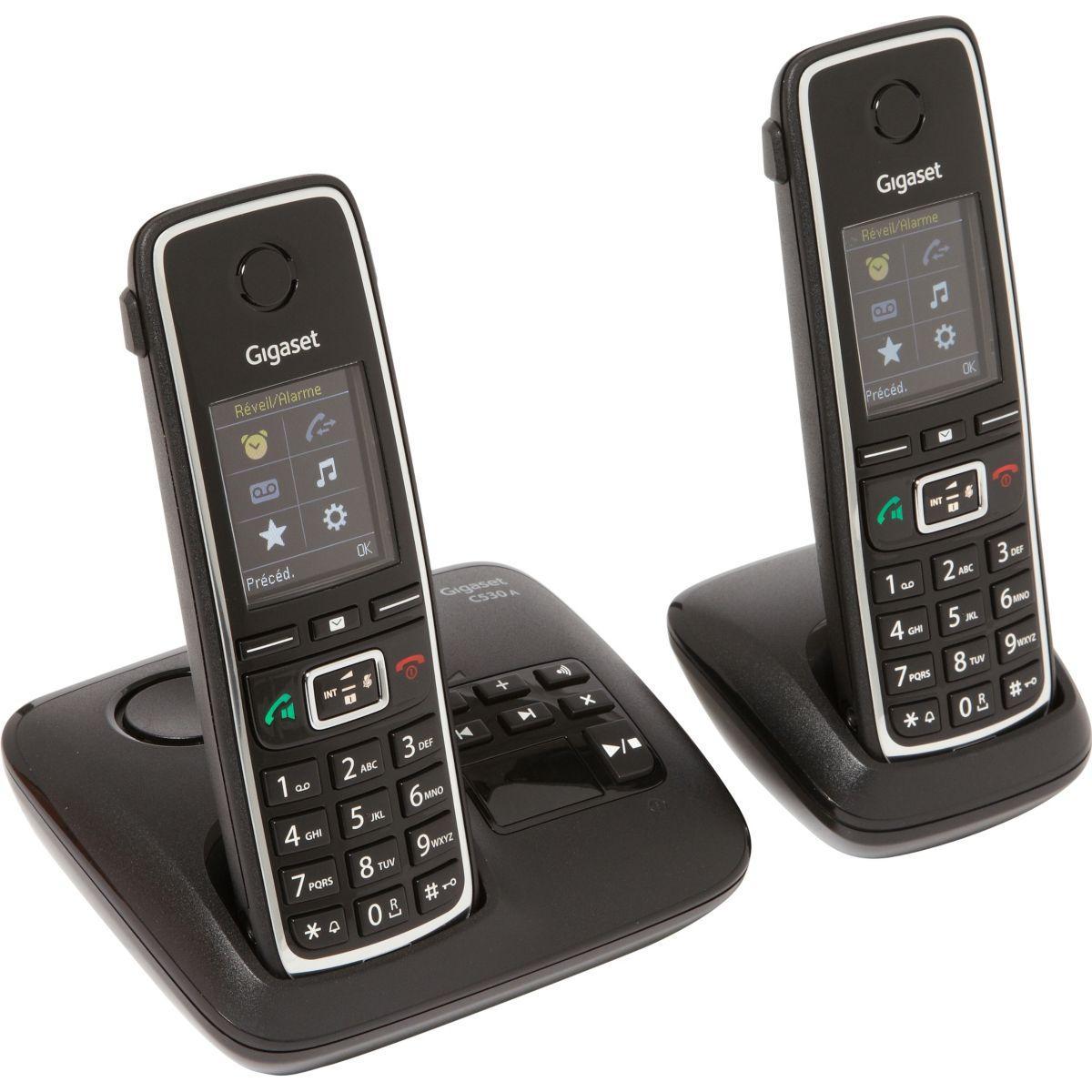 Téléphone répondeur sans fil duo gigaset c530a noir (photo)