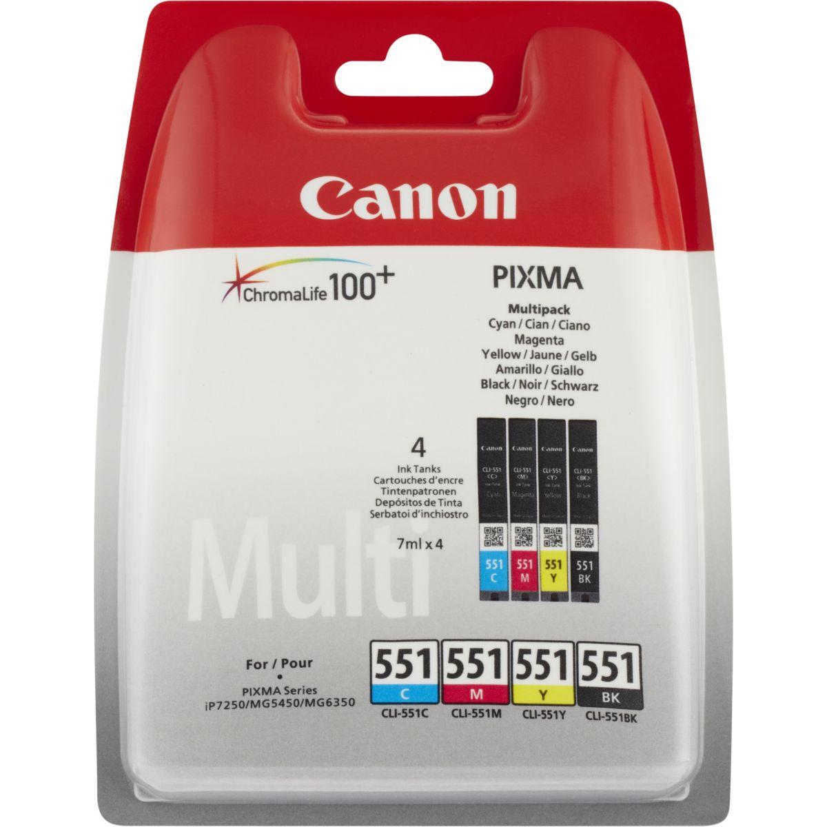 Multipack cartouches d'encre canon 4 couleurs cli551