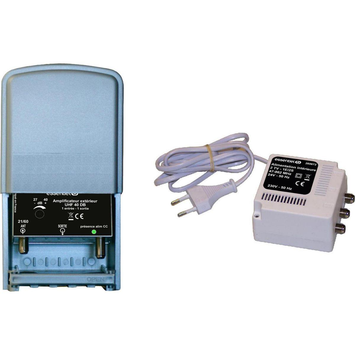 Amplificateur tv essentielb ampli ext 20db+alim - livraison offerte : code liv (photo)