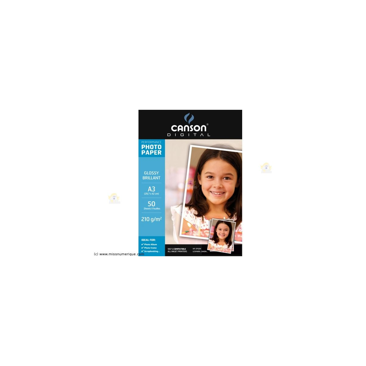 Papier photo canson bte 50fl a3 210g phot brillant - 7% de remise imm�diate avec le code : deal7 (photo)